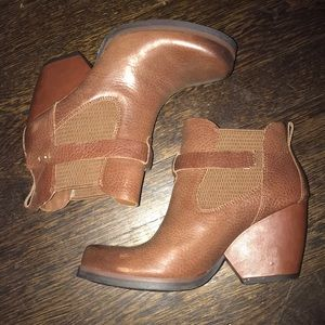Kork Ease Brown Leather Booties Size 6.5